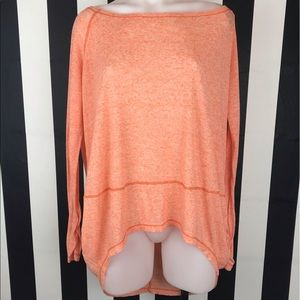 We The Free Coral Heathered Hi Low Long Sleeve Top